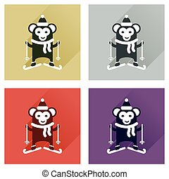 Concept of flat icons with long shadow monkey skiing