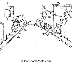 street destroyed draw - Creative design of street destroyed...