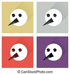 Set of flat icons with long shadow snowman