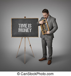 Time is money text on blackboard with businessman and abacus