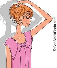 beautiful woman pink night clothes, girl's pajamas