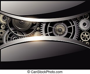 Abstract 3D shiny black background, with vector gears