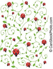 Summer background with ladybirds