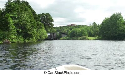 river view from the of a fishing boat camera motion