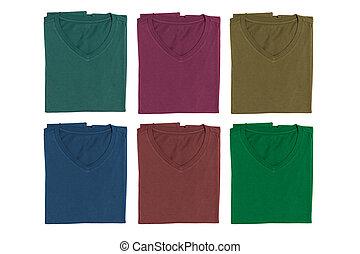 V-neck T-shirt isolated on white background