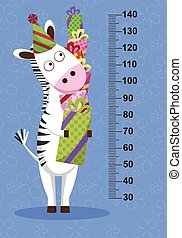 Cartoon zebra with gifts on blue background. Stadiometer. Vector