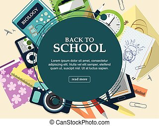 Set of school supplies on a light background with space for...