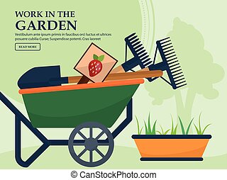 Wheelbarrow with garden tools and a long pot plants on a light background with a place for your advertising. Vector