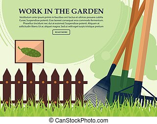 Garden tools and a fence on a light background with place for your text. Vector