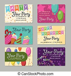 Set of business card your party with gifts, balloons, ice...