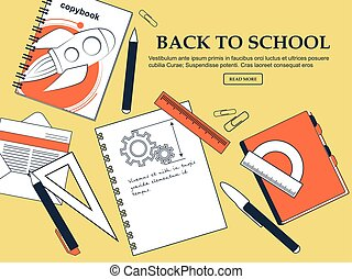 Set of items back to school on a yellow background with a...