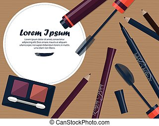 Set of female cosmetics for the eyes on a table with space for your advertising. Vector