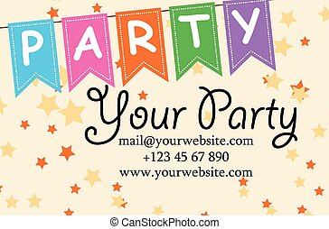 card your party with gifts, balloons, ice cream and hat for...