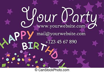 card your party with gifts, balloons, ice cream and hat for design. Vector