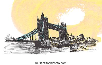 Hand Drawn sketch illustration of Tower Bridge, London, UK....