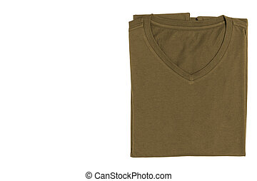V-neck T-shirt isolated on white background with clipping...