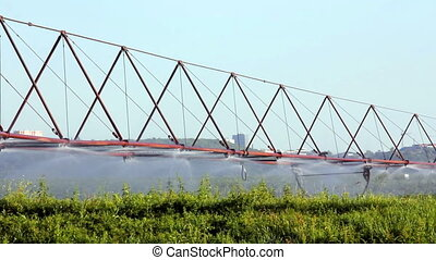 irrigation of a potato field - timelapse with irrigation of...