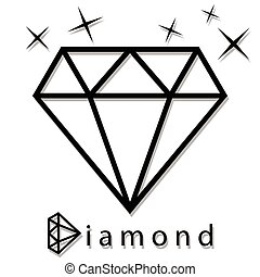 Diamond as a silhouette - An illustration of a diamond in...