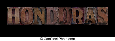 Honduras - the word Honduras in old letterpress wood type