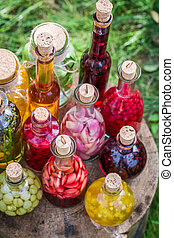 Fresh liqueur with fruits and alcohol