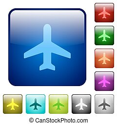Color airplane square buttons - Set of airplane color glass...