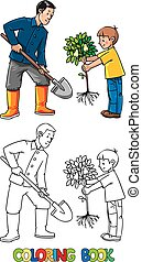 Boy with a tree and man with shovel. The Gardeners