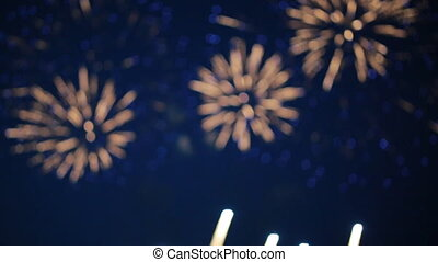 Beautiful fireworks in the sky. Out of focus background.
