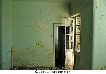 empty room - Empty room and textured peeling paint wall....