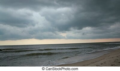 Cloudy sky on sea bad weather. Storm sea