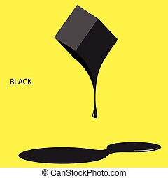 Black paint on a yellow background