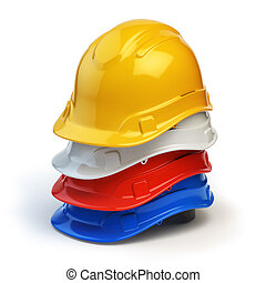 Various hard hats, safety helmets isolated on white. 3d...