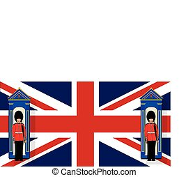 Union Jack With Guards - Two coldstream guards on duty by...