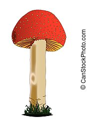 Isolated Red Mushroom - A red and white edible mushroom...