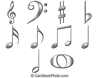 3D Silver Music Notes - 3d silver music notes isolated in...