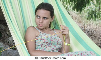 Girl with hammock in nature - Nature in hammock woman...