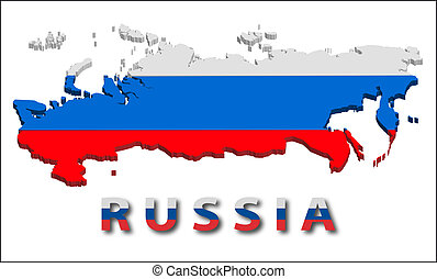 Russia territory with flag texture.