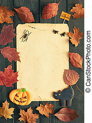 Halloween invitation over wooden background - Blank old...