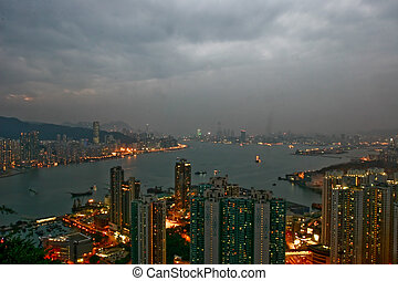 Sunset in Victoria Harbour, Hong Kong