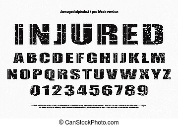 injured black - industrial style alphabet letters and...