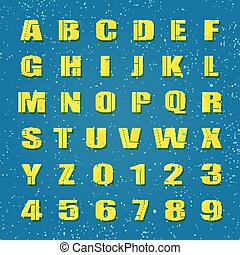 settled ua - mosaic style alphabet letters and numbers....