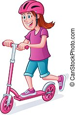 Girl Riding Scooter with Helmet - Cartoon of a girl riding a...