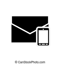 envelope and cellphone icon - flat desigm envelope and...