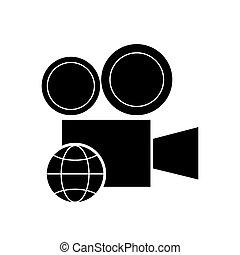 film projector and earth globe diagram icon