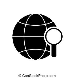earth globe diagram and magnifying glass icon