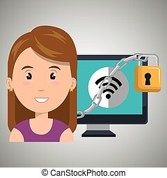 woman computer padlock