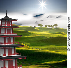 3d rendering Mt Fuji with fall colors in Japan - The 3d...
