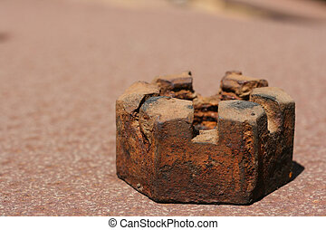 Worn out nut - The old rusty worn out nut with a special...