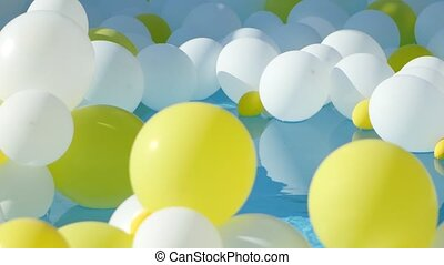 Yellow and white Balloons floating on the water - Balloons...