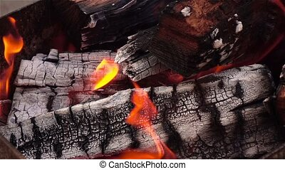 Fireplace and burning firewoods Close up - Fireplace and...