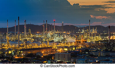 Aerial view oil refinery night